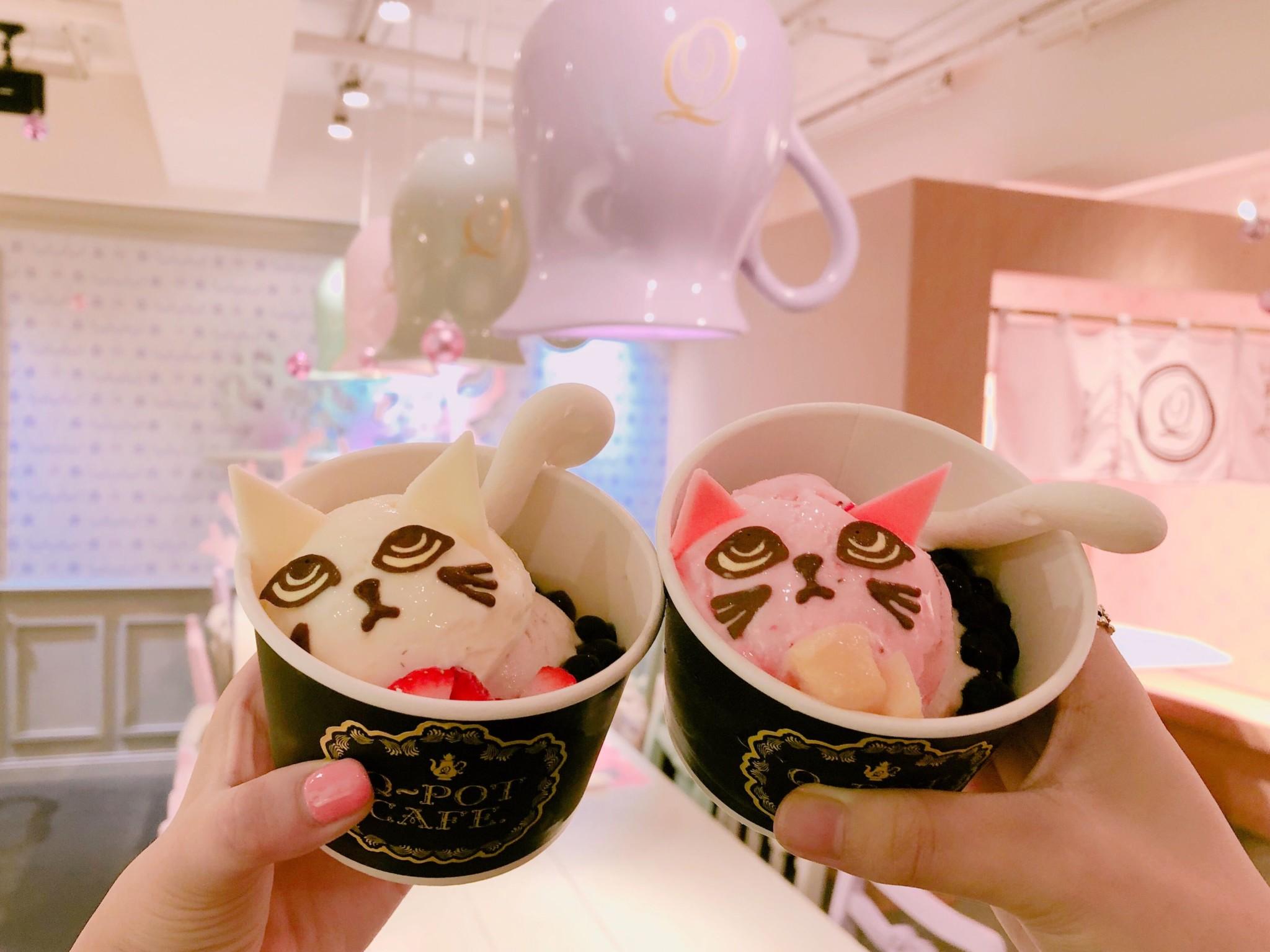 """Q-potカフェの新作『ニャンとエラベル♡""""ネコ""""アイス』♡"""